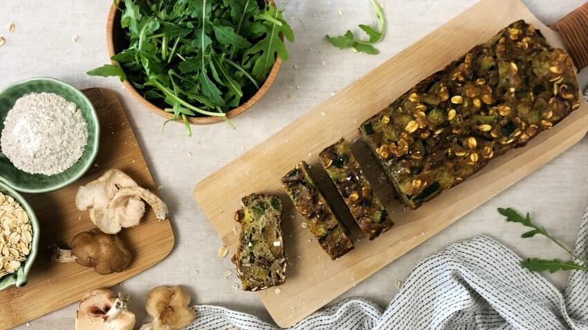 Cake aux courgettes champignons et flocons d'avoine