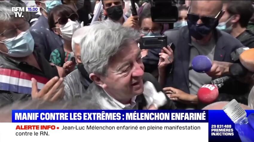 """""""Je suis vivant, tout va bien"""" : Jean-Luc Mélenchon enfariné à la Marche des libertés"""