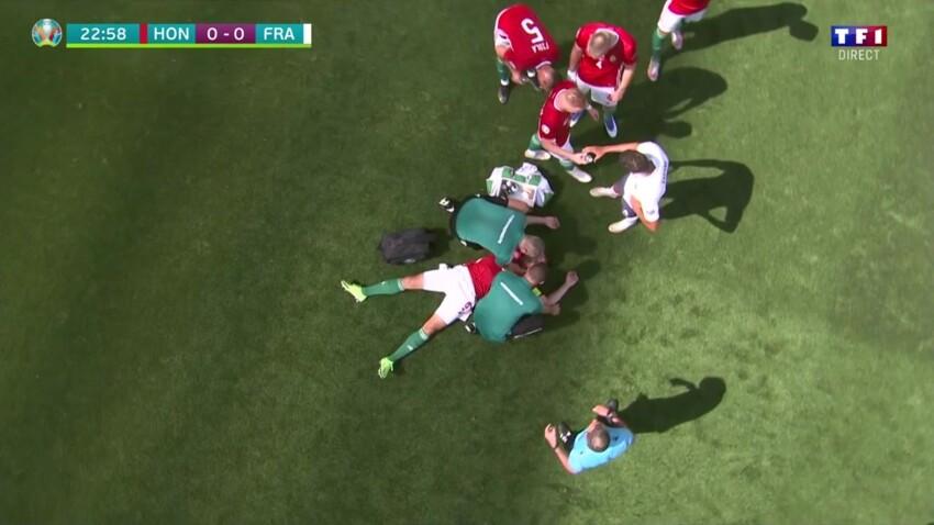 """""""Euro 2020"""" : un joueur sorti du terrain après un malaise lors du match Hongrie-France"""