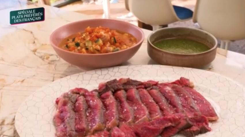 """""""Tous en cuisine"""" : la recette de la côte de bœuf rôtie, ratatouille, chimichurri de Cyril Lignac"""