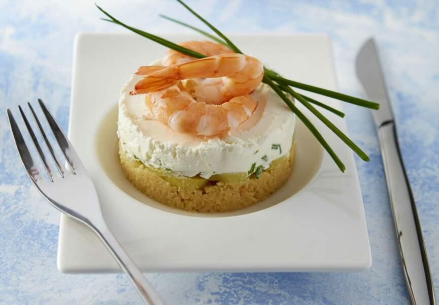 Menu 100% fromage - Cheesecake de crevettes et ratte du Touquet