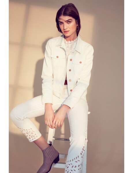 Pantalon tendance : jean blanc