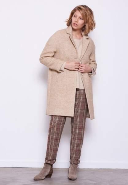 Pantalon à pinces en tissu lainé à carreaux