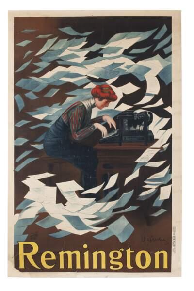 Publicité pour les machines à écrire Remington, vers 1910