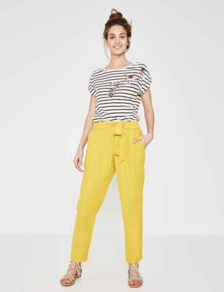 Pantalon tendance : pantalon jaune flashy