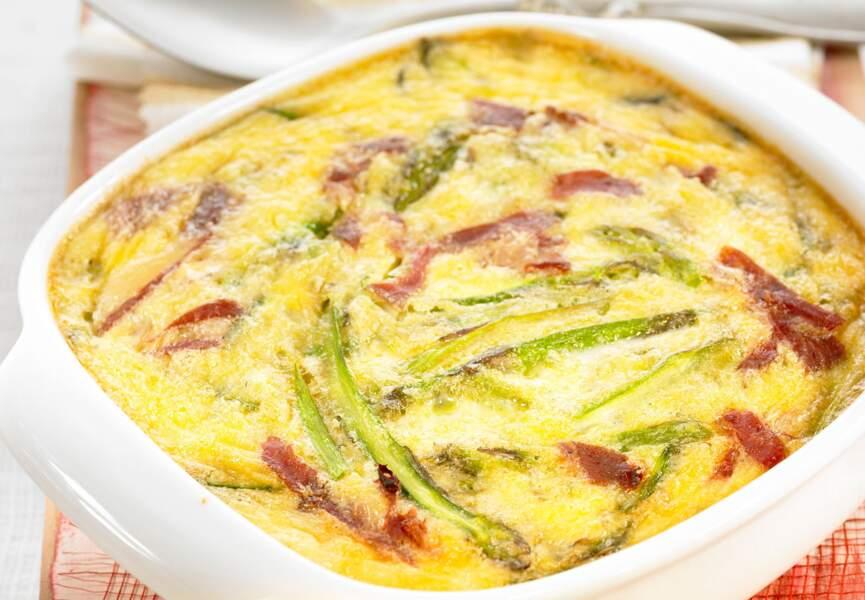 Clafoutis aux asperges et jambon cru