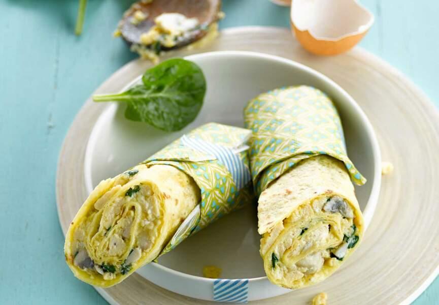 Tortilla d'omelette aux champignons et aux épinards