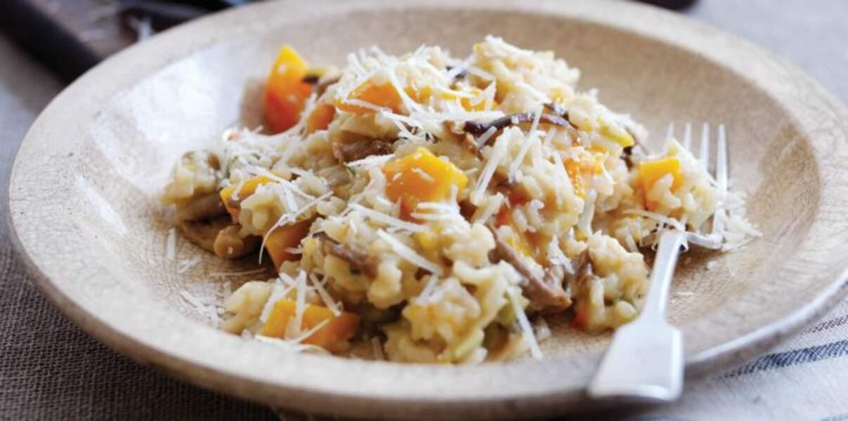 Risotto au parmesan, citrouille et cèpes