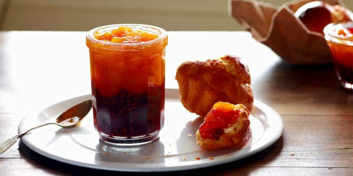 Confiture framboises-abricots