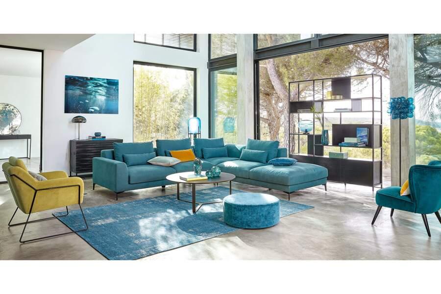 Canapé d'angle droit 6 places bleu canard