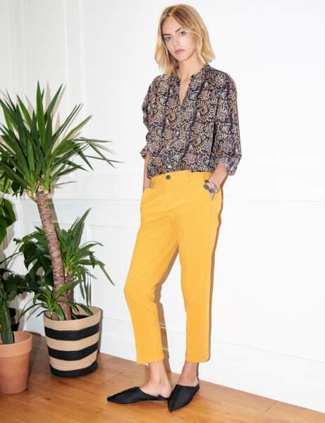 Pantalon tendance : pantalon jaune 7/8ème
