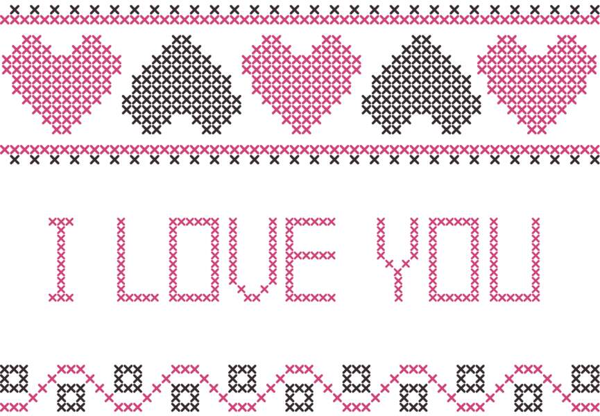 Broderie I Love You Saint Valentin