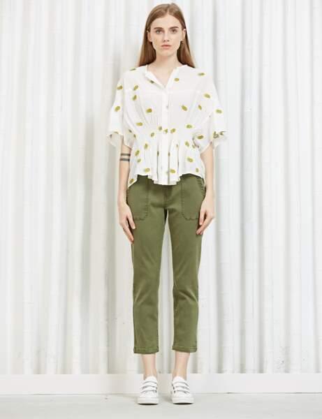 Pantalon tendance : pantalon 7/8ème kaki