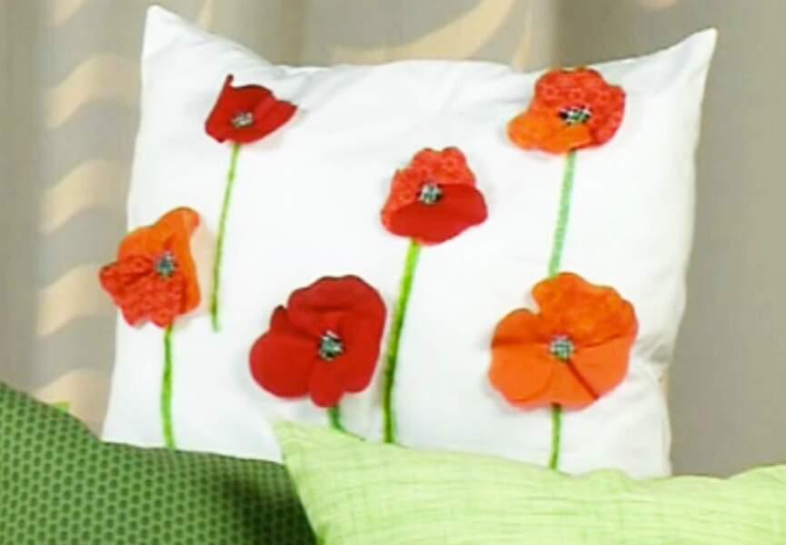 Coussins fleuris en patchwork