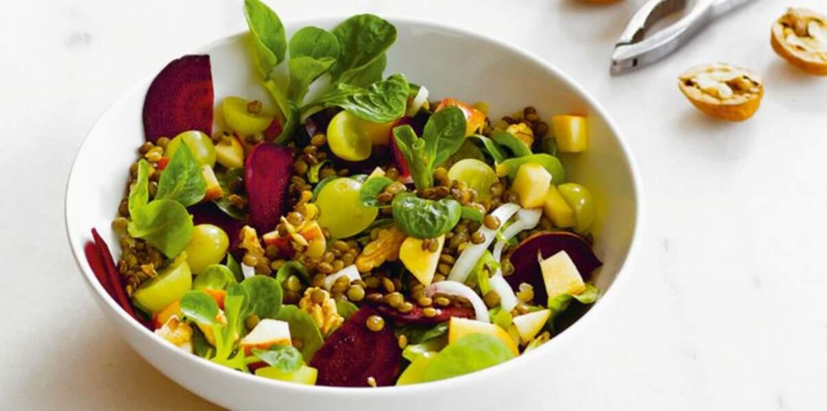 Salade de lentilles vertes façon petit salé