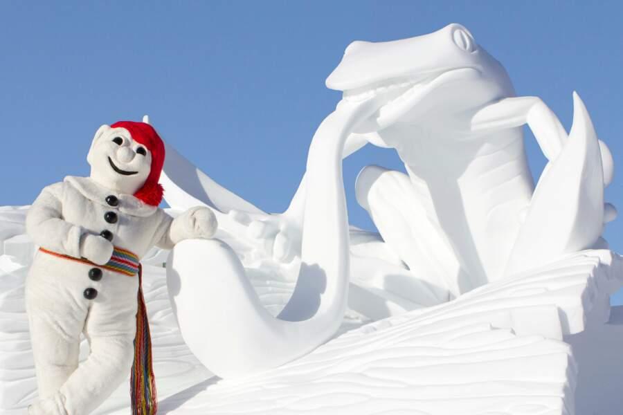 Carnaval avec sculpture de neige