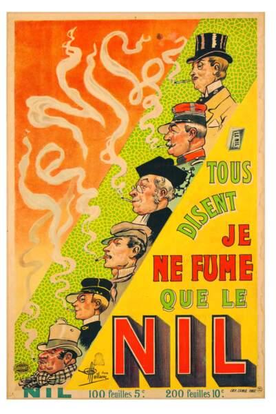 Affiche publicitaire pour le papier à rouler les cigarettes Nil, vers 1897