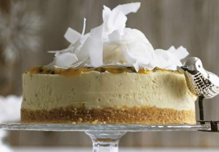 Cheesecake noix de coco et coulis passion