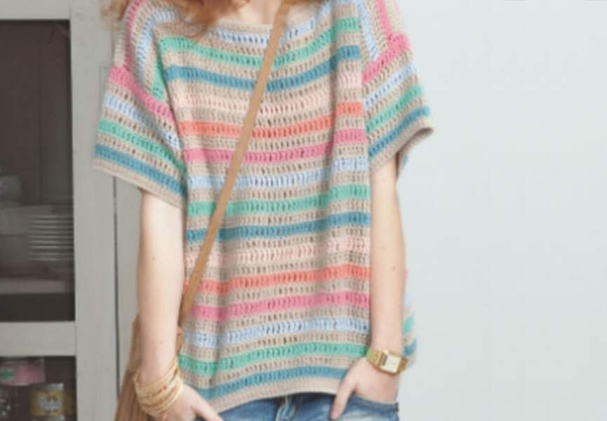 Le pull manches courtes