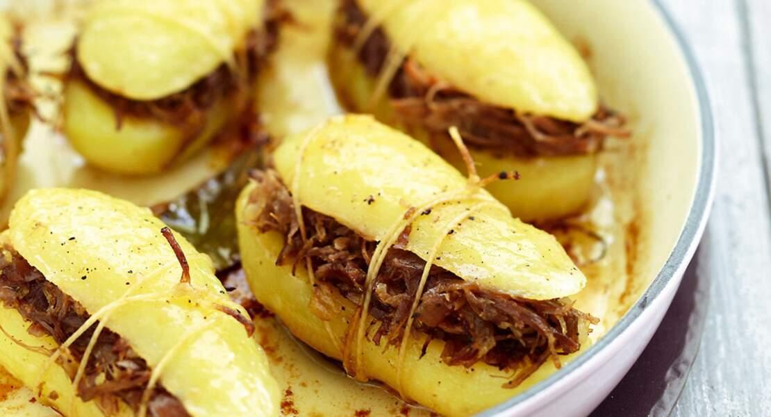Pommes de terre farcies au confit de canard