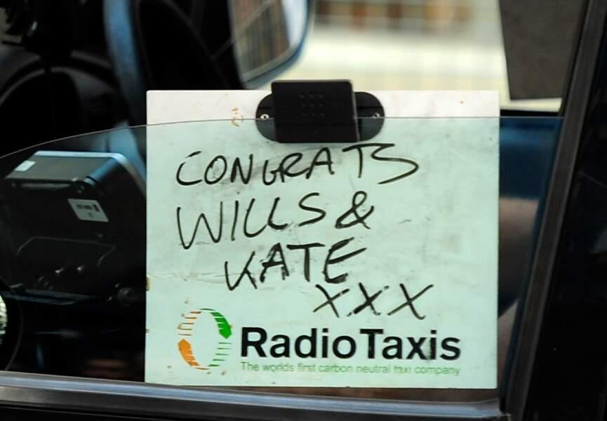 Même les taxis félicitent Kate et William pour leur royal baby boy
