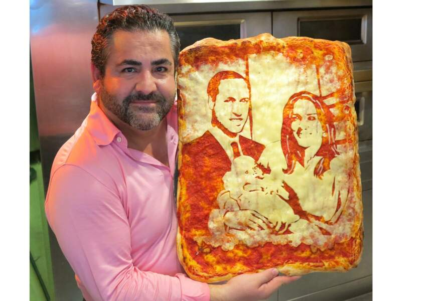 Originale... la pizza royale devient portrait de la famille Kate, William et leur bébé