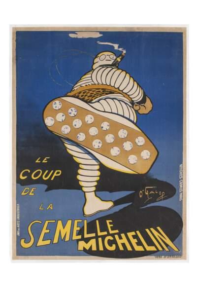 Affiche publicitaire Le coup de la semelle pour Michelin, 1905