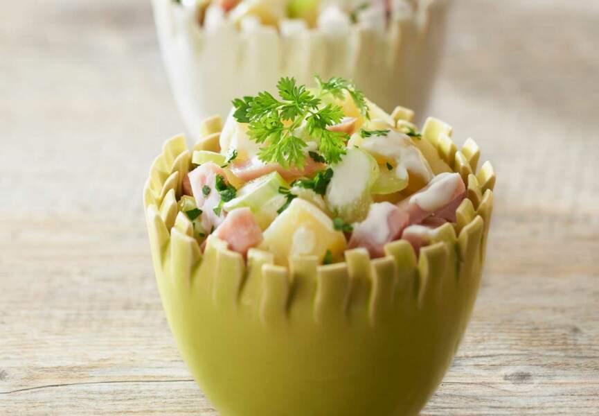 Salade de pommes de terre, céleri et jambon