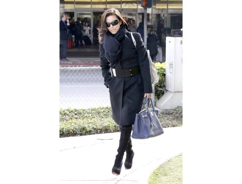 Eva Longoria : le Birkin d'Hermès en hiver