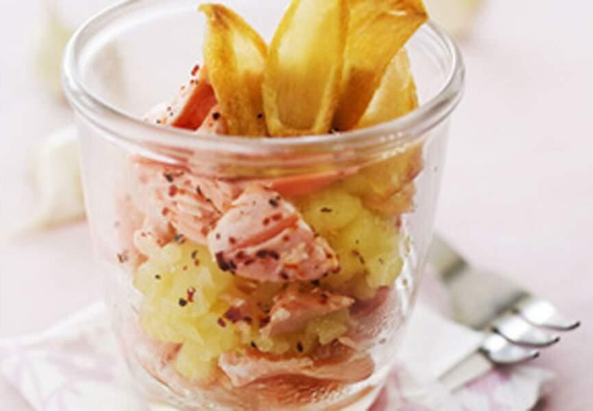 Parmentier de saumon, purée et chips d'ail