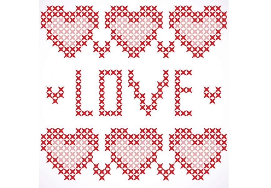 Broderie Love Saint Valentin