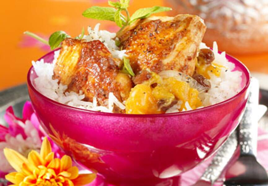 Poulet tandoori et chutney aux pêches