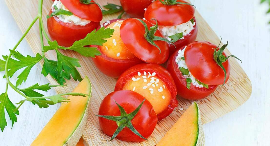 Tomates cocktail au melon et au fromage frais