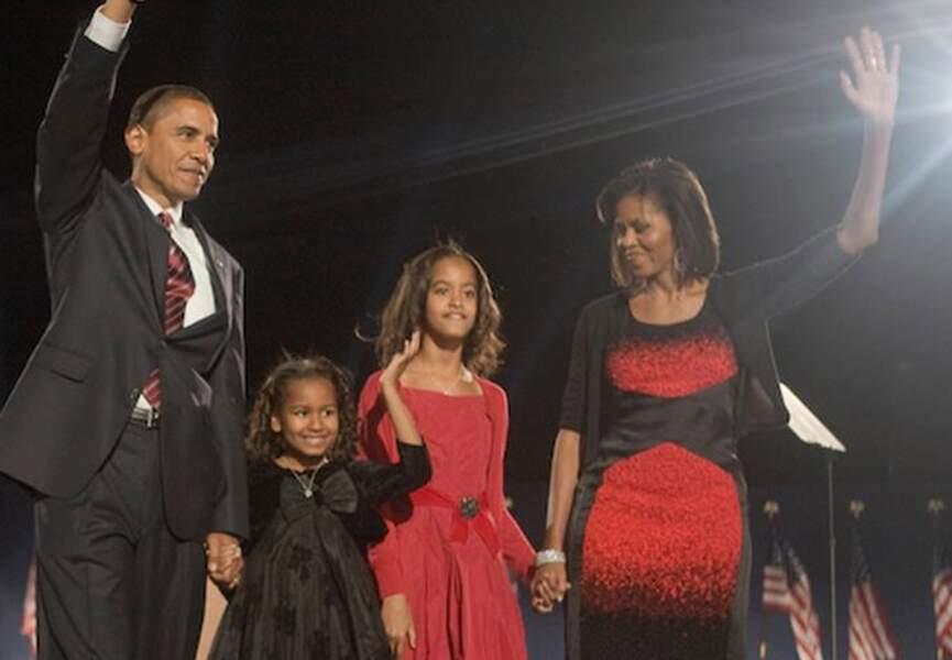 La famille réunie autour de Barack Obama le jour de son élection, le 4 novembre 2008