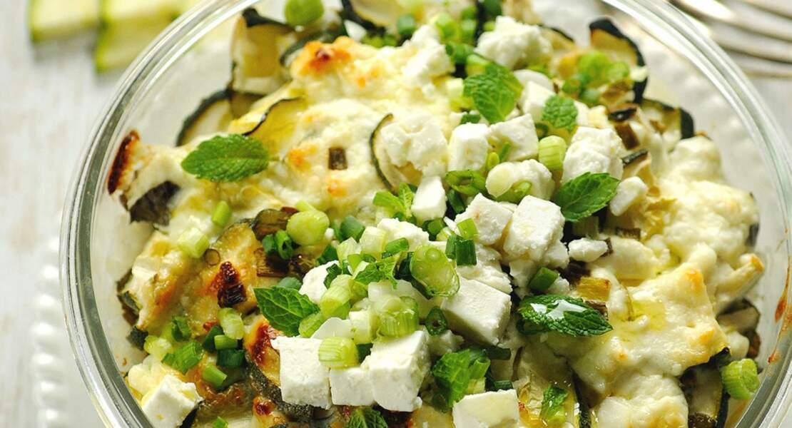 Gratin de courgettes et fromage de brebis