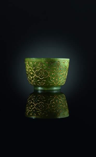 Coupe venue d'Asie centrale, en jade et incrustations d'or