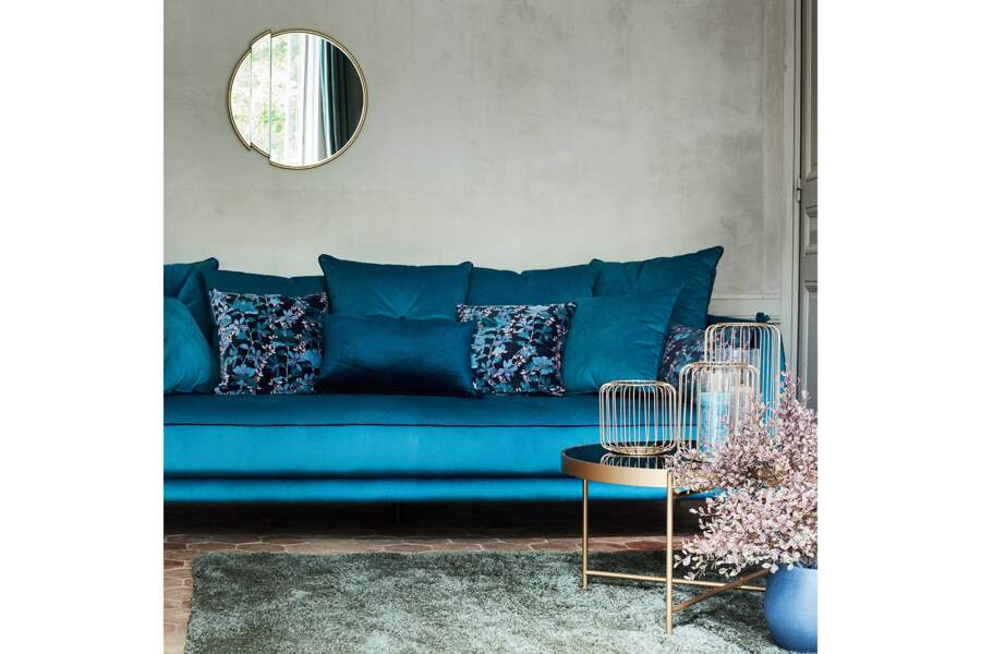 Canapé bleu en tissu