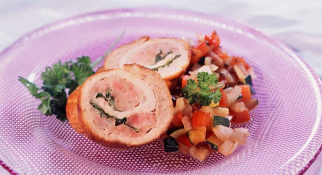 Roulades et petits légumes