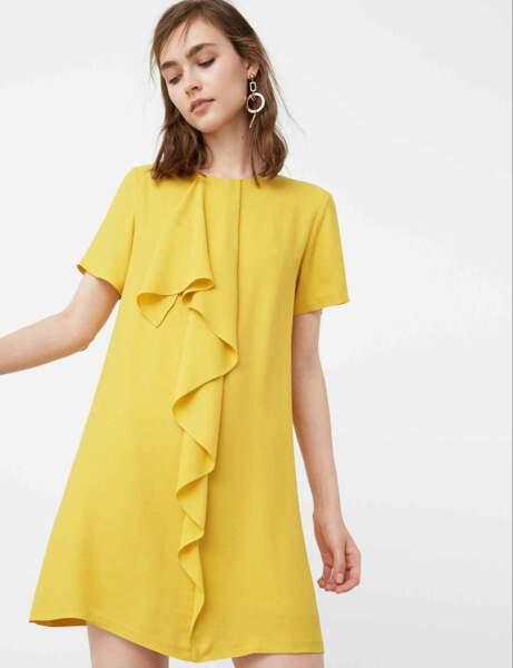 Robe jaune à volant