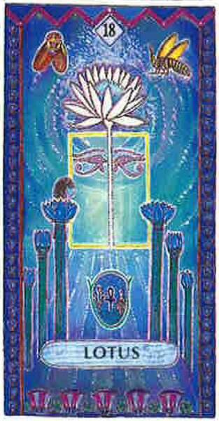 Lame 18 du tarot égyptien : Lotus