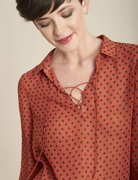 Tendance orange : la blouse à pois