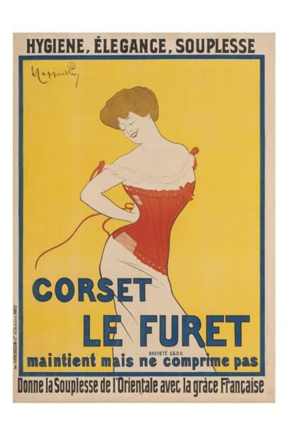 Affiche pour les corsets Le Furet, 1901