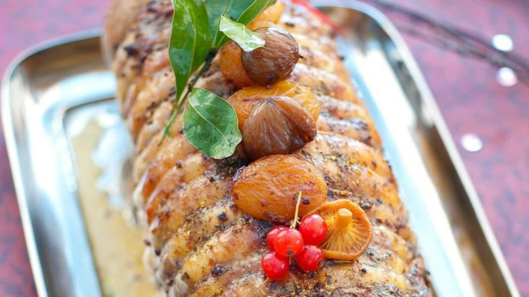 Pintade farcie aux marrons et aux fruits secs