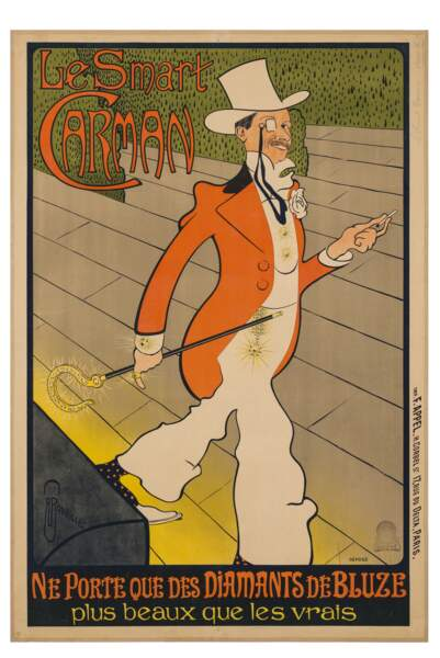 Affiche publicitaire pour les Diamants de Bluze (marque de brillants), vers 1898