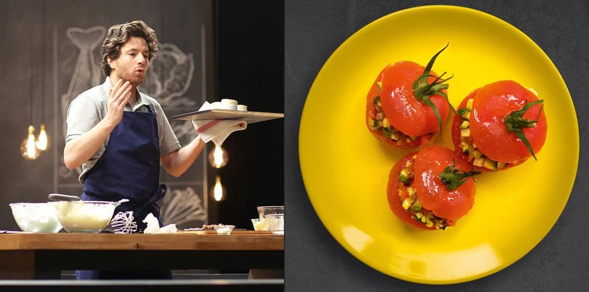 Vidéo : tomates farcies express à la ratatouille tiède de Jean Imbert