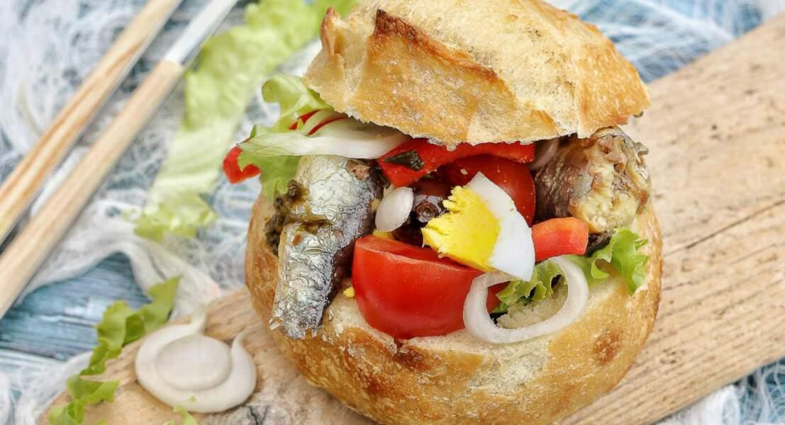 Pan bagna aux sardines et algues bio