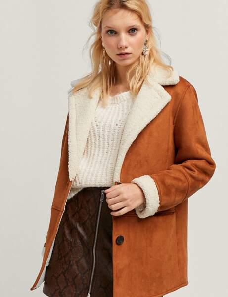 Manteau tendance: peau lainée