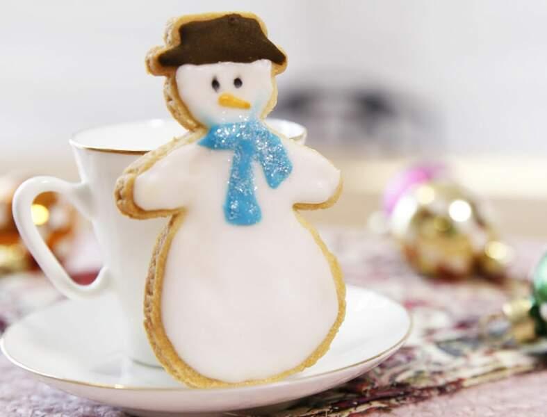 Sablés de Noël en bonhomme de neige