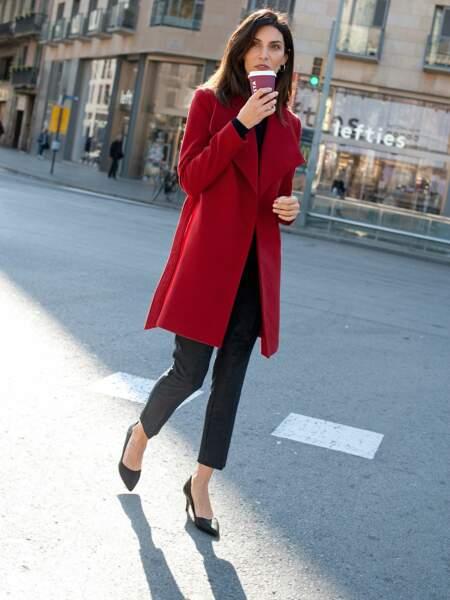 Manteau uni croisé rouge