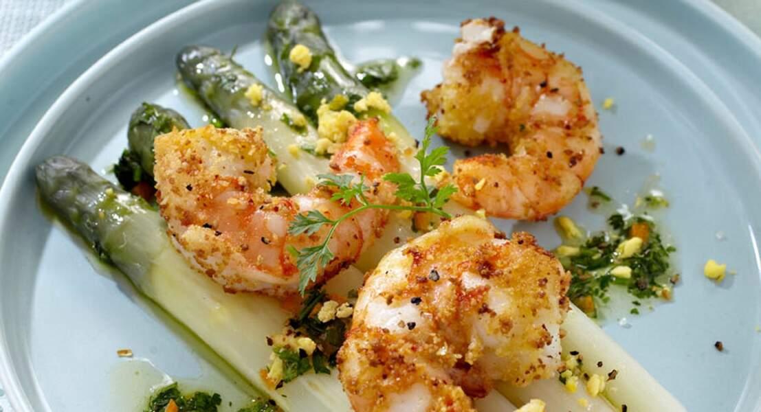 Salade d'asperges et crevettes croustillantes